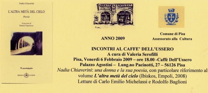 Pisa Venerdì 6 Febbraio La Poesia Di Nadia Chiaverini
